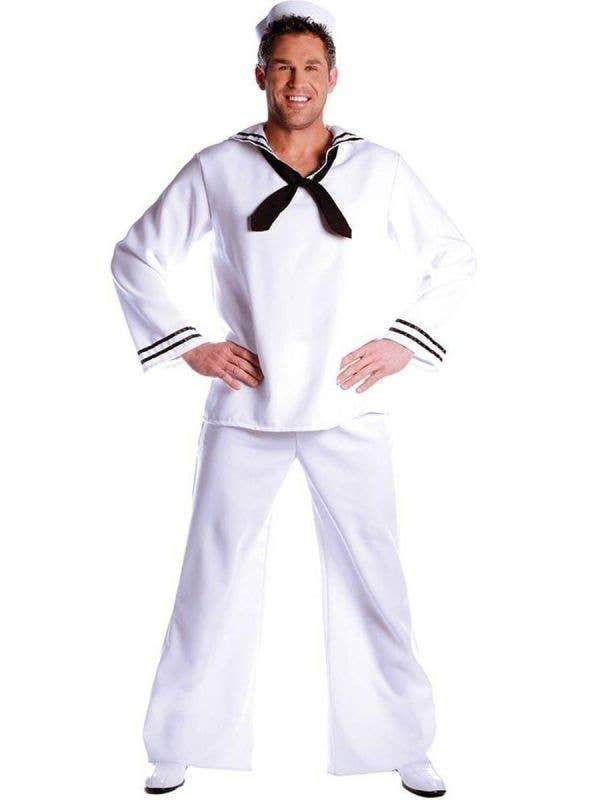 Plus Size Men's White Sailor Uniform Fancy Dress Costume Main Image