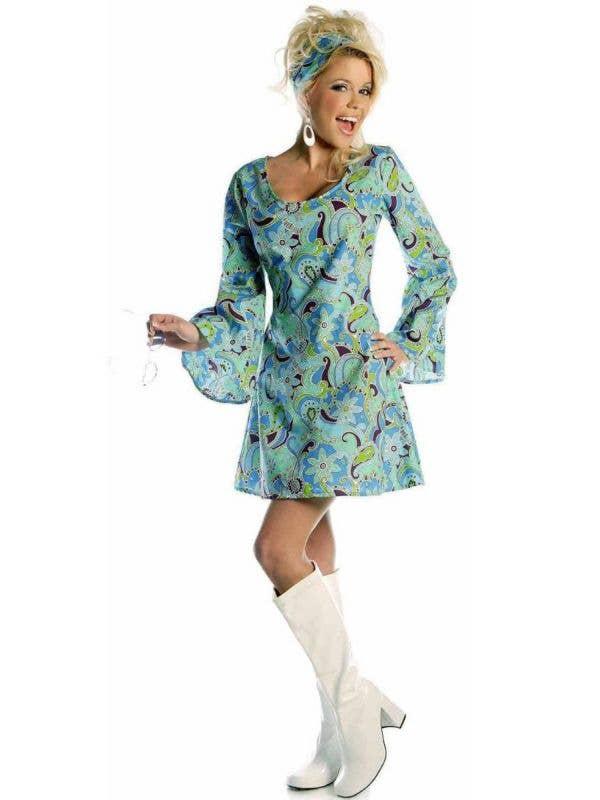 Blue Go Go Hippie Women's 70's Fancy Dress Costume Main Image
