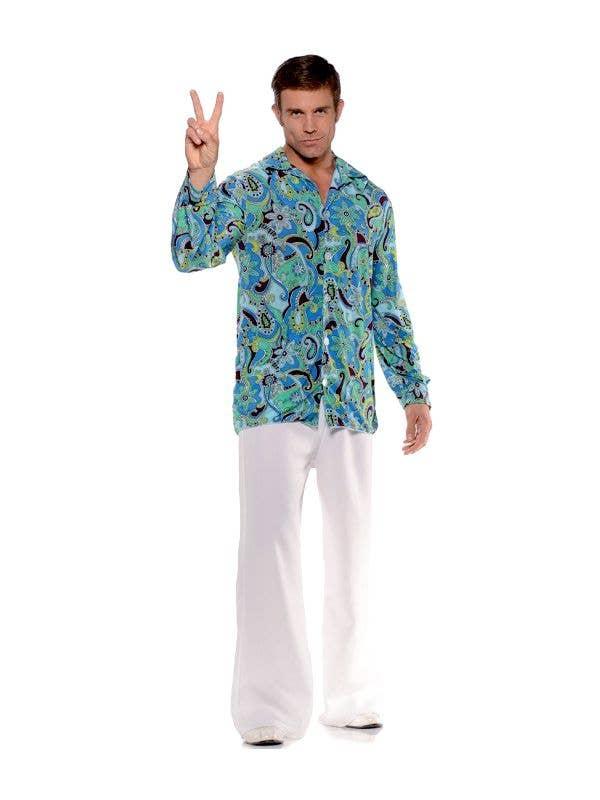 Men's Blue Groovy Hippie 70s Dress Up Costume Shirt - Main Image