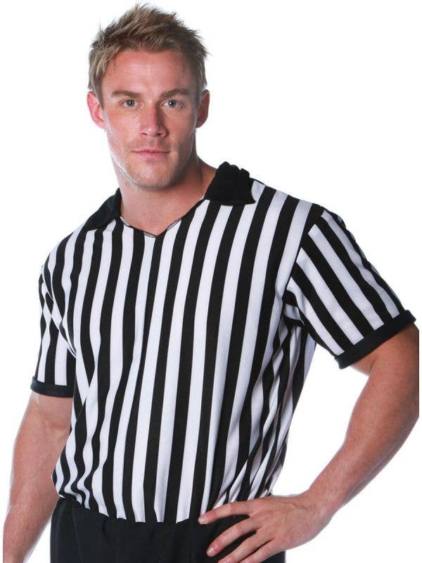 Plus Size Men's Black and White Striped Referee Costume Shirt