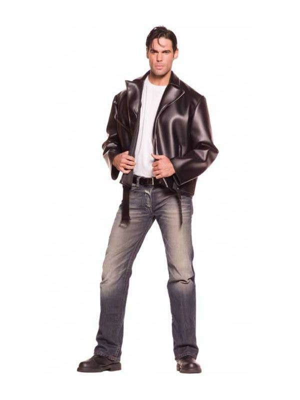 50s greaser mens costume jacket leather look fonzie jacket