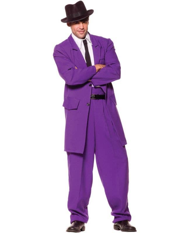 Men's Purple Gangster Zoot Suit Mob Boss Fancy Dress Costume By Underwraps Main Image