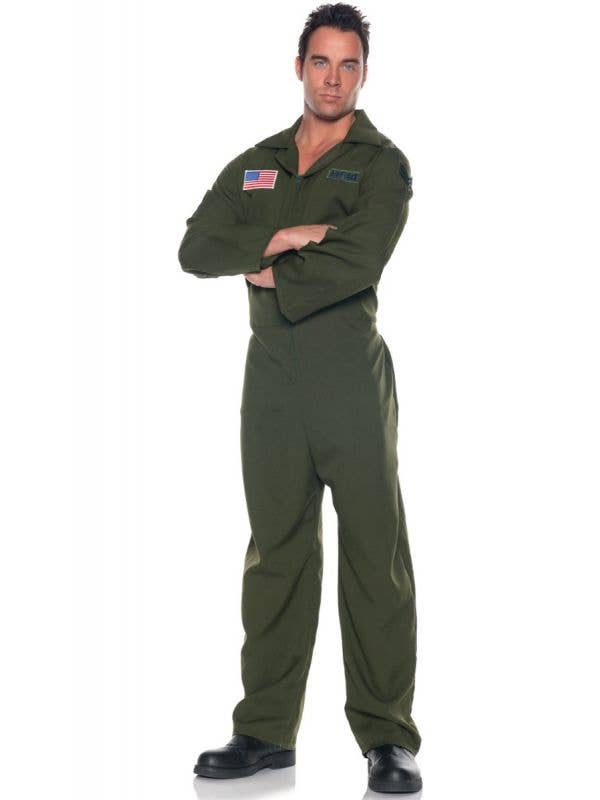 Plus Size Men's Top Gun Maverick Khaki Green Jumpsuit Fancy Dress Costume Main Image