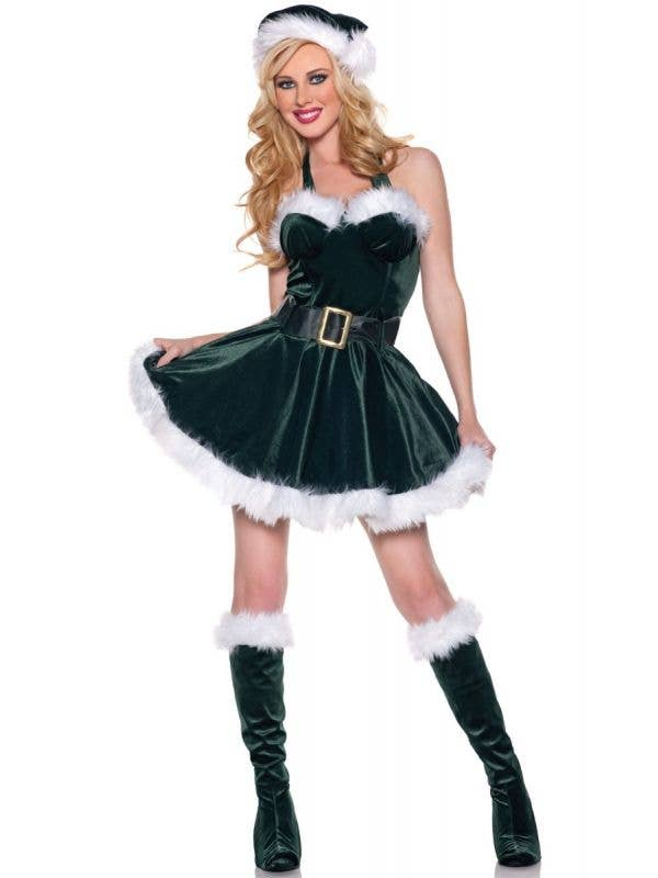 Dark Green Christmas Outfits Australia with Matching Green Christmas Hat - Image 1