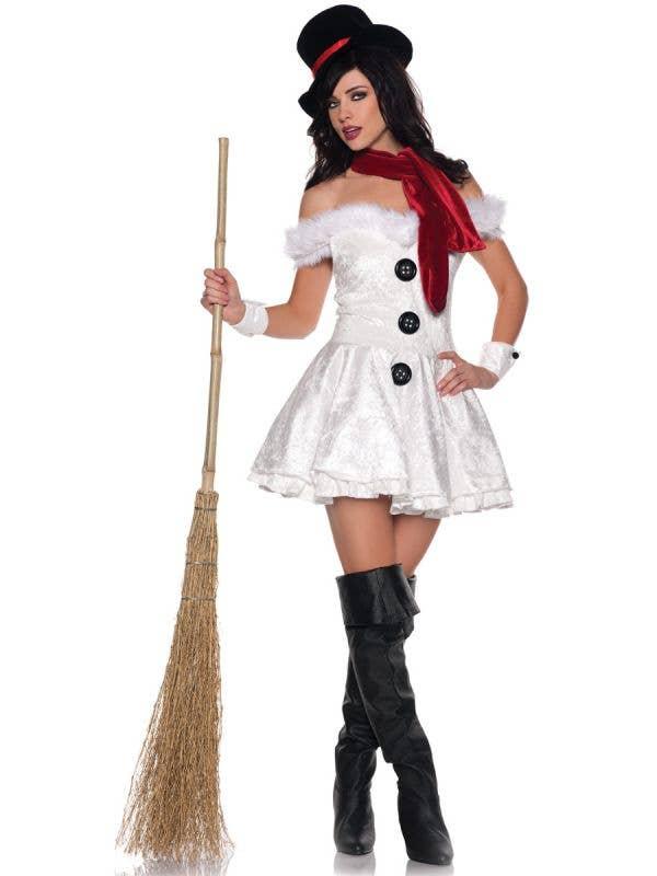 Women's Snowman Christmas Dress Sexy Costume - Image One
