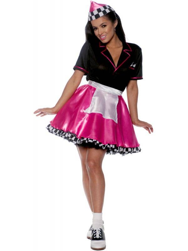 50s Diner Pink and Black Car Hop Girl Costume for Women - Main Image