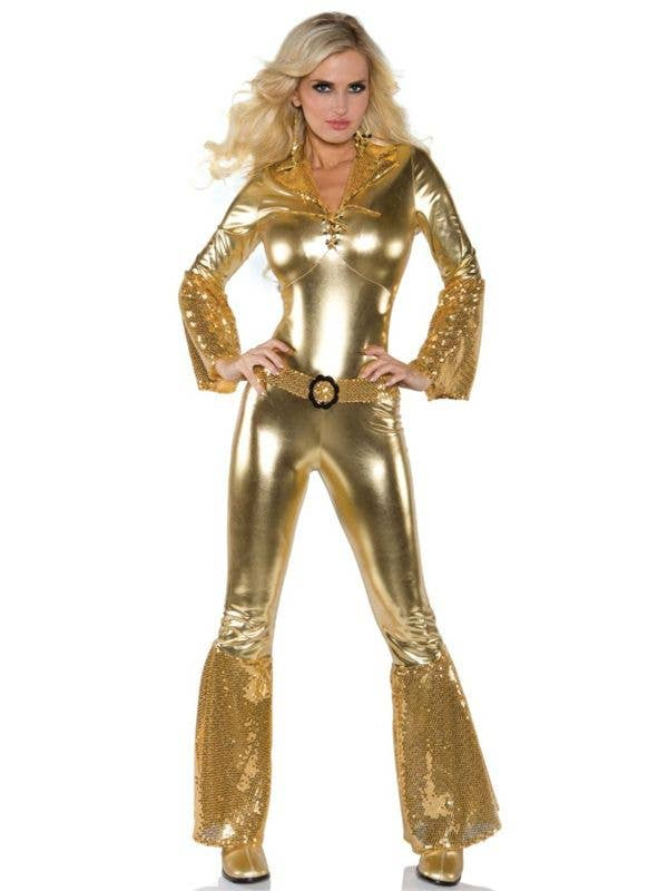 60b6e0326a9b 70 s Women s Metallic Gold Disco Jumpsuit Costume Front View