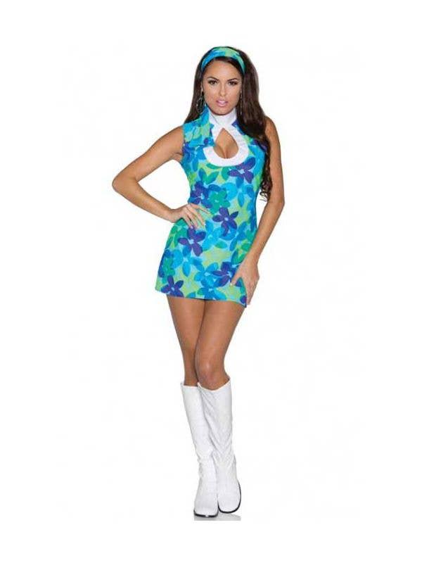 Women's Blue Retro 60's Flower Costume Dress Front View