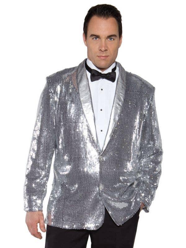 Men's Silver Sequined Cabaret Costume Jacket Image