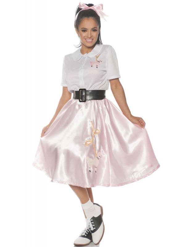Women's Pink 1950s Sock Hop Fancy Dress Costume -  Main Image