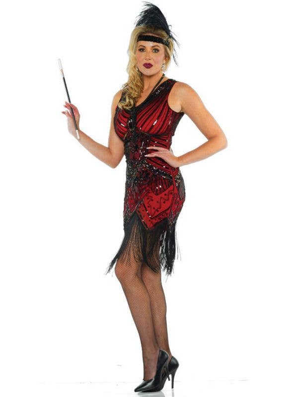 Women's Red and Black Sequin Great Gatsby 20s Flaper Costume Dress - Image 1