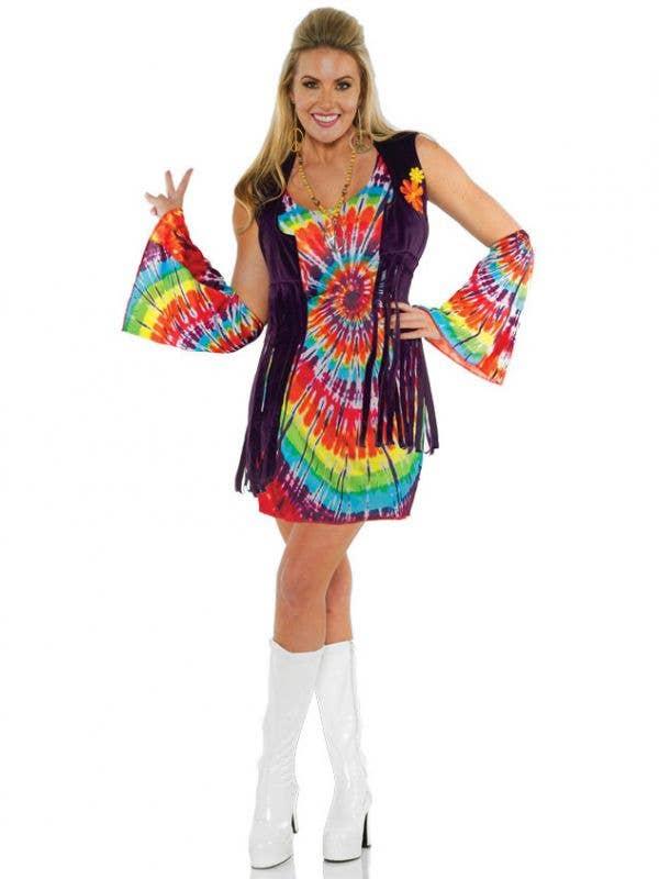 Women's Rainbow 1970's Hippie Fancy Dress Costume