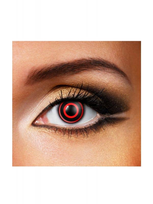 15cc960fc4b Black and Red Bullseye Contacts Horror Costume Accessory Main Image