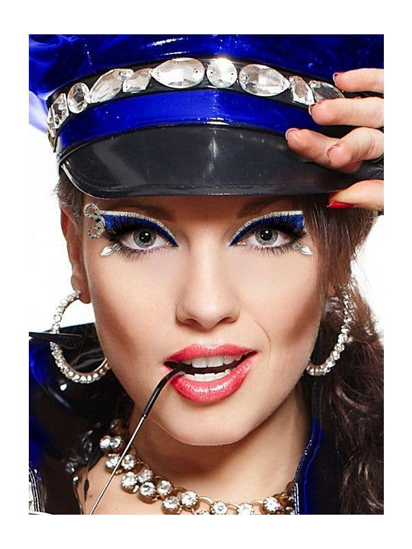 Women's Police Hand Cuff Blue And Silver Eye Makeup With Rhinestones Front Image