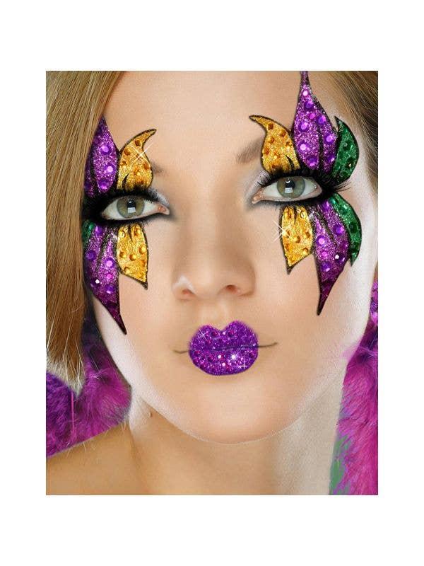 Mardi Gras Mask And Lips Womens Stick On Makeup