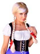 Women's Blonde Beer Girl Plaited Costume Wig