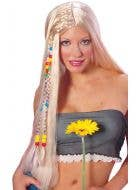 Long Blonde Beaded Hippie Wig