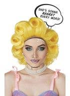 Retro Pop Art Comic Character Yellow Costume Wig With Rockabilly Curls And Thought Bubble