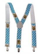 Bavarian Blue and White German Oktoberfest Suspenders