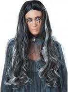 Women's Long Black and White Wavy Halloween Wig