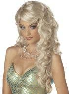 Long Curly Blonde Women's Mermaid Costume Wig