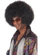 Men's Black Frizzy Afro Costume Wig Image 1