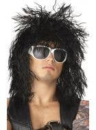 Black Frizzy Heavy Metal Mullet Image 1
