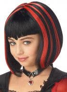 Vampire Girl's Black and Red Halloween Costume Wig