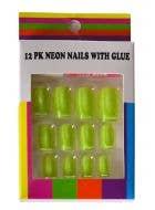 Neon Yellow Fake Stick On Fingernails