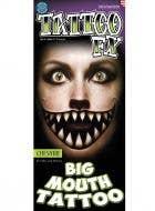 Big Cheshire Mouth Temporary Halloween Tattoo Main Image