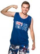 Blue Australia Day Sun's Out Guns Out Top Front View