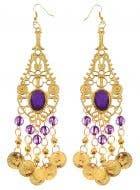 Arabian Desert Princess Gold and Purple Drop Costume Earrings