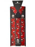 Halloween Skull Printed Red Suspenders Costume Accessory