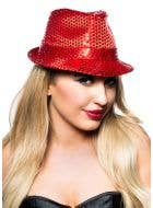 Sequined Gangster Fedora Hat - Red