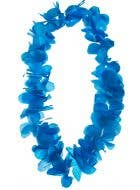 Hawaiian Neon Blue Tropical Flower Lei Costume Accessory