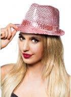 Sequined Light Pink Fedora Costume Hat