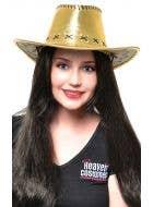 Metallic Gold Women's Cowboy Hat Costume Accessory