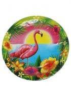 Hawaiian Themed Flamingo Party Plates - 10 Pack