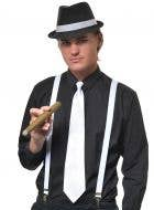 White Satin Zip Up Gangster Costume Tie View1