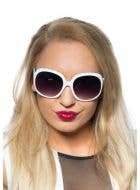White 70's Retro Sunglasses Costume Accessory Main Image
