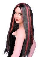 Women's Black And Red Long Halloween Costume Wig