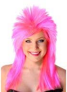 Hot Pink Women's Spiked 1980's Mullet Costume Wig