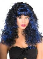 Women's Curly Black And Blue Costume Wig With Fringe Front