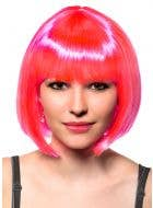 Neon Pink Short Bob Wig with Fringe Front View