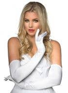White Elbow Length Women's Deluxe Satin Costume Gloves Main Image