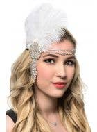 White Feather Headband with Rhinestones 1