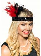 Red and Black Short Feather 1920's Flapper Costume Headband View 2