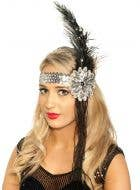 Deluxe Beaded Black and Silver Feather Flapper Headband