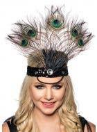 Tall Peacock Feather Showgirl Headband