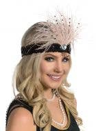 Black and Soft Champagne Feather Flapper Headband View 1